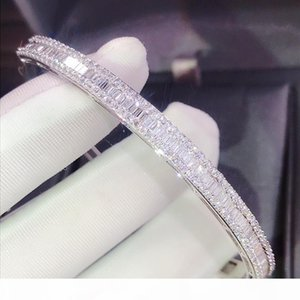 Choucong Stunning Luxury Jewelry 925 Sterling Silver Full Princess Cut White Topaz CZ Diamond Eternity Bangle Women Wedding Bracelet Gift