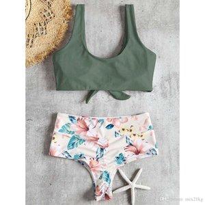 Bikini floral de la cintura de la cintura alta anudada para las mujeres Traje de baño Traje de baño Traje de baño 2018 Nuevo traje de baño Maillot de Bain