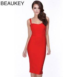 Порно Rayon красный Спагетти ремень Ткань Spandex Bodycon Mid Длина платья бинты 210414