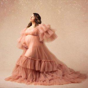 Vestidos casuais elegante mulheres vestido de maternidade de longo vestido de maternidade para po atirar lush rufffle manga bebê pografia