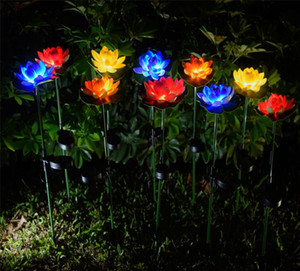 Lotus Flower Light LED Waterproof Solar Pond Garden Decorations Multi-Color Changing Landscape decorative outdoor lawn lamp SEA HHC7578