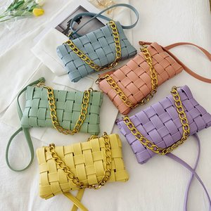 Teenage Girls Handbags Fashion Kids Bags Children Accessories Chain One Shoulder Messenger Bag Summer Hand Knitting Purses B7222
