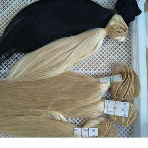 Silk straight haur 100% Human Hair Bundles 4 pcs Lot Weaves Brazilian Peruvian Hair Extensions Color 1b 4# 8# 613# Gray 12-24 Inches