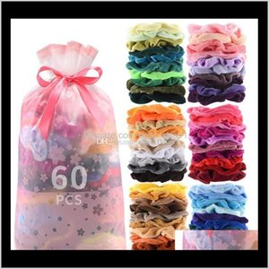 Baby, Kids & Maternity Drop Delivery 2021 Scrunchies Veet Women Hairbands Elastic Ties Ropes Solid Ponytail Holder Girls Hair Accessories 60P