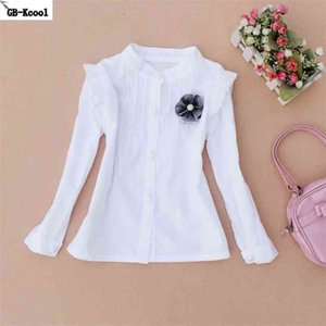Fashion Girls White Blouses Spring Casual Teenage School Shirts Kids Cotton Mandarin Collar Long Sleeve Blouse Mother 210622