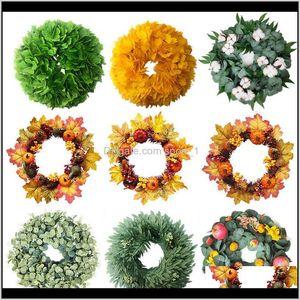 Decorative Flowers Wreaths Festive Party Supplies & Garden Drop Delivery 2021 Eucalyptus Autumn Harvest Plant Garland Ginkgo Leaf Fruit Valen