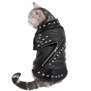 Cool Leather Dog Jacket Coat Warm Winter Dog Clothes French Bulldog Waterproof PetMedium Dogs Black LZ0672