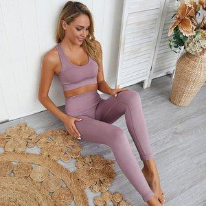 Abiti da allenamento comodi Senza cuciture Yoga Outfit Set Palestra Abbigliamento sportivo Abbigliamento sportivo 2 pezzi leggings Bra Tops Donna Abiti da jogging Abiti da jogging