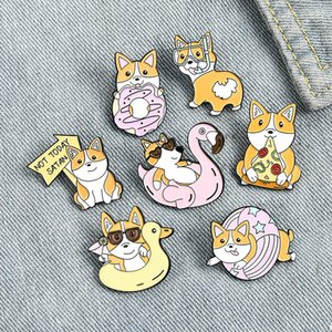 Korean Cartoon Dog Brooches Pizza Donut Swimming Ring Animal Pins For Women Alloy Anti Light Button Badge Clothes Accessories