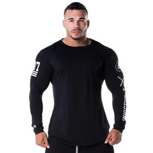 Men Skinny Long sleeve Shirts Spring Casual Fashion Printed T-Shirt Male Gyms Fitness Black Tee shirt Tops Brand Clothing
