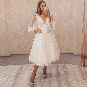 Short Wedding Dress 2021 Long Puff Sleeve Simple Elegant V-Neck Knee Length Robe De Mariee Custom Made Civil Beach Cheap