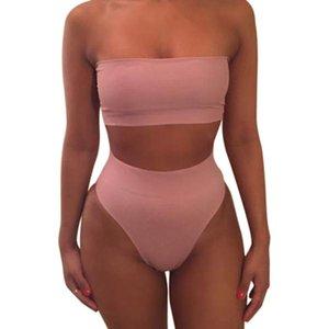 여성 수영복 1 세트 여성 수영복 비키니 낮은 가격 없음 패드 솔리드 컬러 패션 비치 휴가를위한 매우 얇은 소재