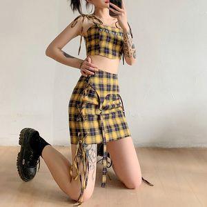 Shestyle Grid xadrez Amarelo Saia 2 peças Sets Mulheres Sexy Bandage Bainha Lattice Zipper Skirt Crop Tops Streetwear 2021 SummerFree Shipping