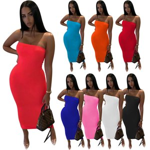 Solid Color Women Strapless Dresses Plain Summer Clothing Slim Maxi Dress Sexy Backless Party Skirt White Black Long Skirts Night Club Wear S-2XL 5243