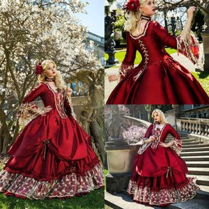Princess Medieval Fantasy A Line Wedding Gowns Victorian Halloween Masquerade Ball Gown Queen Puffy Red Sweet 16 Bridal Party Dresses