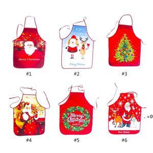 Christmas Decorations Apron Xmas Tree Santa Claus Elk Printing Kitchen Tools 6 Style 18% Discount EWD10630