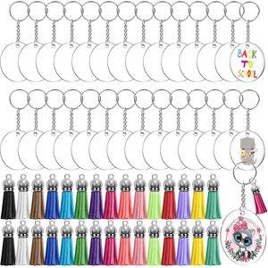 Acrylic Keychain Making Kit with Tassel Pendant DIY Craft Transparent Circle Discs Key Rings Round Keychains Blank Bag Ornament Kimter-W39F