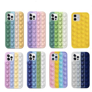 Pop Fidget Reliver Stress Toys Rainbow Phone Soft Case For iPhone 8 7 Plus 12 11 Pro Max Antistress Toys Cover Sensory Toy capa