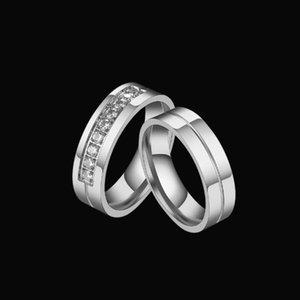 Fashionable titanium steel zircon love ring stainless diamond set couples designer jewelry gold lovers men women gift
