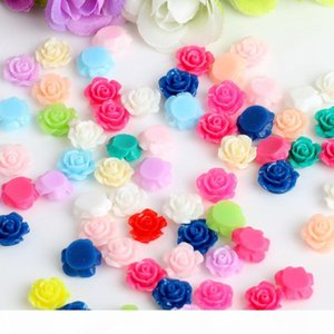 100 lot Mixed colors 10mm plastic rose flower DIY beads flat resin cabochon with paillette craft