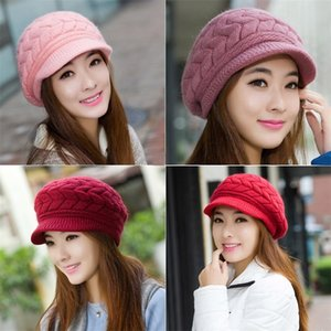 Ear Protection Woolen Knitted Hats Warm Winter Rabbits Hair Crochet Women Solid Color Beanies Acrylic Fibres Peaked Caps Black 11bd M2