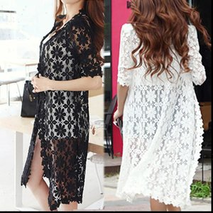 Fashion Long Cape Women Sweater Hollow Out Womens Half Sleeve Summer Autumn Lace Cardigan 2 Color