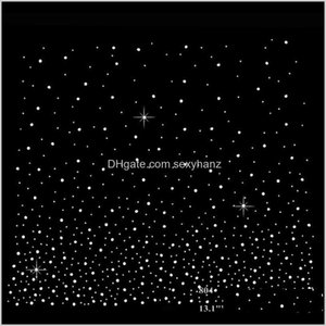 Sewing Notions Tools Apparel Drop Delivery 2021 13Dot1 Inches Starry Sky Design Fix Rhinestone Heat Transfers Iron On Motif For Scarf Curtain