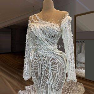 Illusion Arabic Dresses Mermaid Beaded Pearls Floor-Length Women Muslim Lace Wedding Dress Bridal Gown 2020 Train