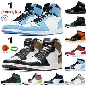 NUEVO 1 High 1S Shoes de baloncesto para hombre Mocha Dark Mocha Silver Toe Light Smoke Grey UNC Patente Negro Metallic Oro Hombres Mujeres Sneakers