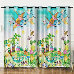 Curtain & Drapes Animal Paradise Pattern Perforated Bedroom Living Room Decoration Background Cloth Curtains Luxury Blackout