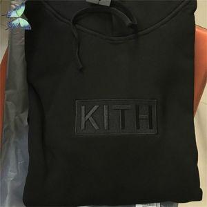 Вышивка Kith Hoody Розовая Черная Пара Платье Толстовки Толстовки Оригинальные Теги Этикетки 210420