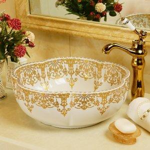 Flower shape Porcelain wash basin sink ceramic Counter Top Wash Basin bathroom bowlsgood qty