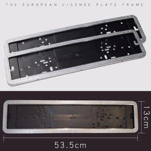 1pcs Bling Crystal License Plate Frame Women Luxury Handcrafted Rhinestone Car Holder European German Russian For Girl1