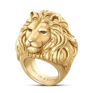 Plated Gold Lion Head Ring King of Forest Punk Animal Male's Jewelry Fashion Rock Style Best Poison Rings for Women