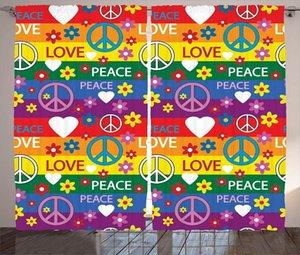 Curtain & Drapes Groovy Decorations Curtains Heart Peace Symbol Flower Power Political Hippie Cheerful Colors Festival Joyful Home Window De