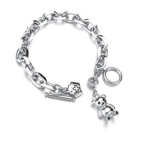 Silver Plated Ins Bear Hat Bangles Wrist Chain Band Bracelet For Women Girls Lover Friends Gift Jewelry Boh Charm Bracelets