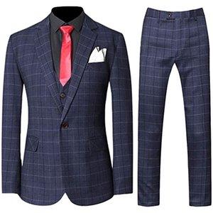 Suits Fashion Costume Homme Mens 3 Pieces Plaid Suit Set Modern Jacket Tux Vest Pants Terno Masculino Slim Fit Blazer