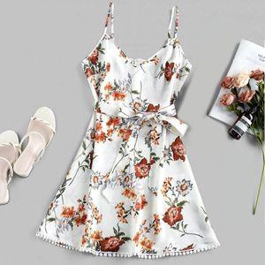 Line Women's Swimwear Print Mini Dress Women Sleeveless Slim With BeltSkirt Tail Tassel A Summer Sling Floral