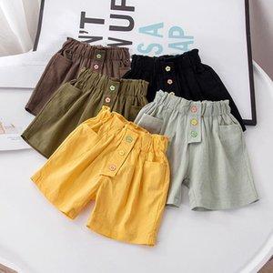 Shorts Children's Summer Solid Girl Loose Thin Elastic Waist Cotton Culottes Fashion Casual Short Cargo Pants Straight Korean