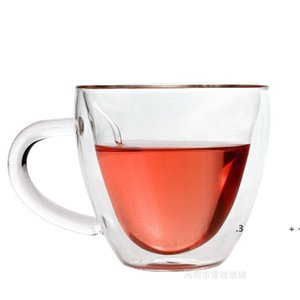 Coffee Mug Glass New style Double Walled Heat Heat Resistant Tumbler Espresso Tea Cup heart Mugs sea ship EWE5905
