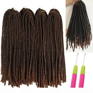 Lucky Queen18-26inch Soft Dreadlocks Crochet Braids Jumbo Dread Hair style Ombre Color Synthetic Faux Locs Braiding Hair Extensions
