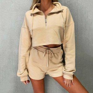 Women Autumn Shorts and Sweatshirt Set Home Loungewear 2Pieces 2020 Fashion Ladies Zipper Sweatshirt Outfit Suit Wholesale