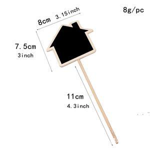 Plant Tags Marker Cute Shape Card Insertion Mini Blackboard Woodiness Arts And Crafts Originality Home Furnishing EWE5993