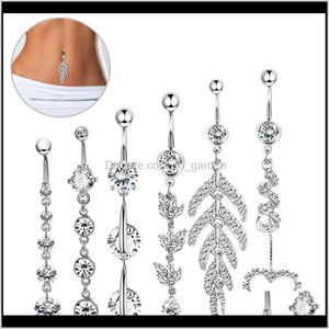 & Bell Drop Delivery 2021 Sier Rose Gold 6Pcs Belly Button Navel Dangle Body Piercing Jewelry Accessories Charming Sexy Rings Bar 7Cw9X