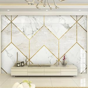 Custom Any Size Mural Wallpaper 3D Stereo Geometric Golden Line Marble Wall Painting Living Room TV Sofa Luxury Home Decor Wallpapers