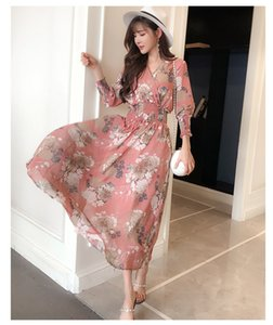 Dresses Summer 2021 New V-neck Loose Floral Chiffon Dress Women's Mid Long Print Waist Over Knee First Love Skirt