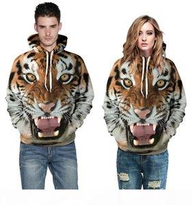 2016 Fashion men 3d digital printing hoodies sweatshirts will women ferocious tiger plus size round neck hedging hooded couple set clothes