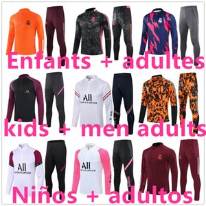 21 22 Real Madrid psg chándal de fútbol chandal de futbol kids Enfants + men adultes foot  soccer tracksuit football training soccer tracksuit Liverpool juventus