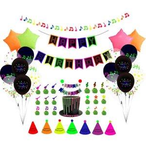 56pcs set Happy Birthday Balloons Fluorescent Party Decorations Letters Birthday Flag Cake Insert Balloon Set Latex Star Aluminum Balloon G52YUTR