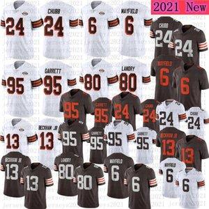 2021 Men Football 95 Myles Garrett 75th jersey 24 Nick Chubb 6 Baker Mayfield 80 Jarvis Landry 13 Odell Beckham Jr 1946 stitched jerseys
